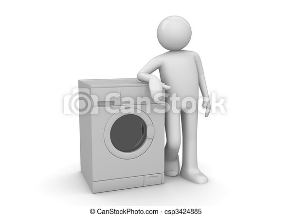 Man leaning on the washer - csp3424885