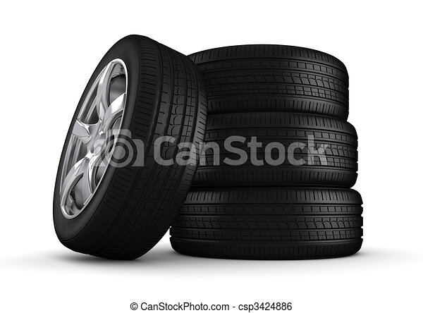 Four tires isolated close-up - csp3424886
