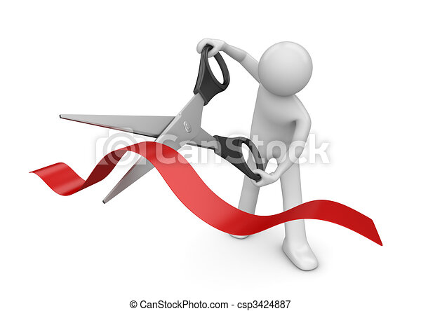 Opening: man cutting red stripe with scissors - csp3424887