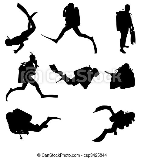 diving silhouettes set - csp3425844