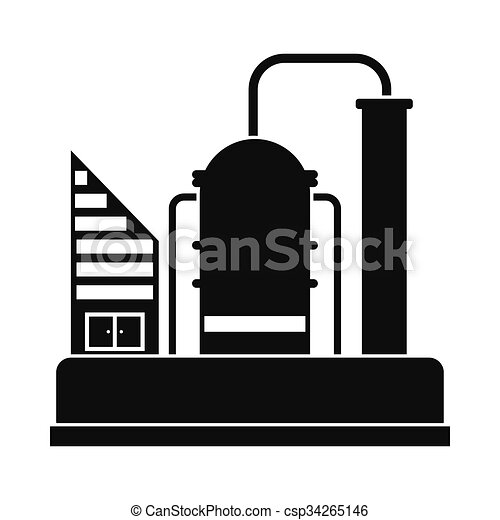 EPS Vector of Oil refinery or chemical plant icon - Oil refinery ...