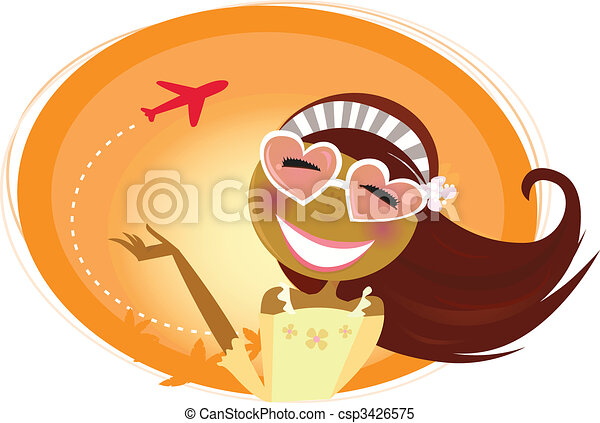 Travel woman with heart-shaped glasses and airplane in background - csp3426575