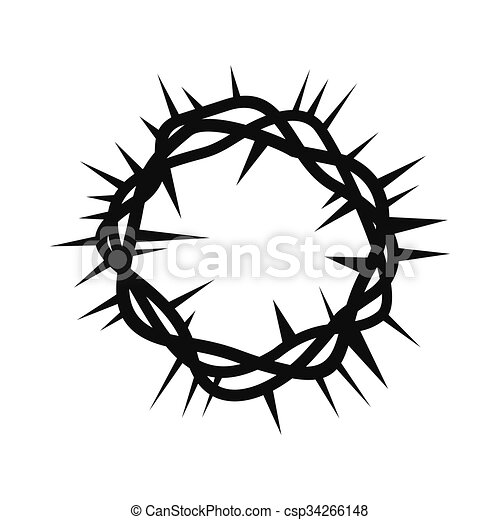 EPS Vector of Crown of thorns black simple icon isolated on white ...