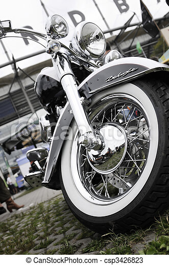 front part of a classical motorcycle