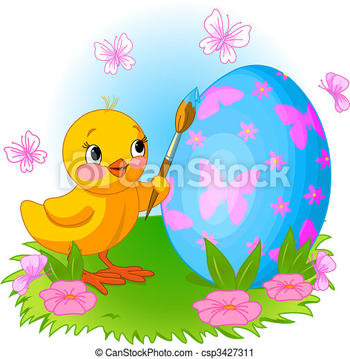 Vector Clip Art Of Chicken Painting Easter Egg