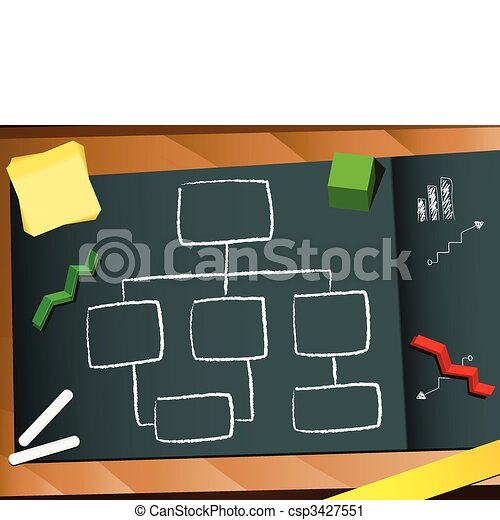 Organization chart blackboard and chalk background. - csp3427551