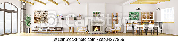 Interior of modern apartment, living room, dining room, lounge area with fireplace, panorama 3d rendering