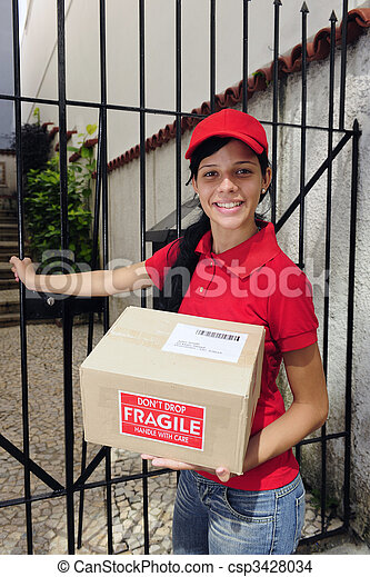 delivery courier or mailman delivering package - csp3428034