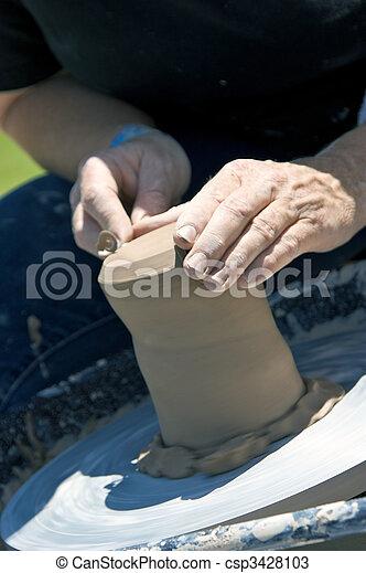 alfarero, trabajando, arcilla - csp3428103
