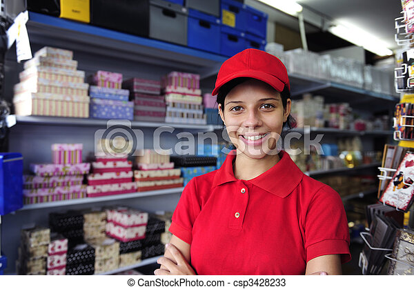 young woman working  in a gift box store - csp3428233