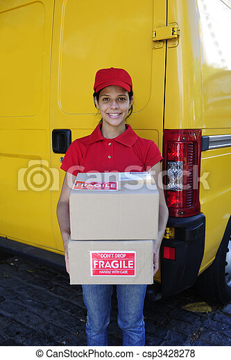 delivery courier or postman delivering cardboards - csp3428278