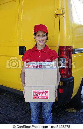 delivery courier or postman delivering cardboards  - csp3428278