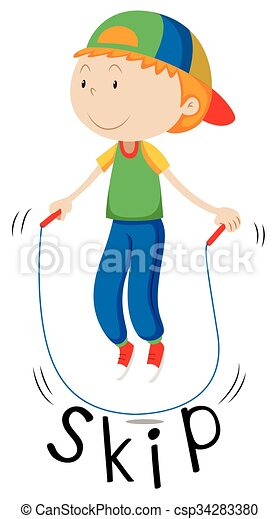 Vector of Little boy with rope skipping illustration csp34283380 ...