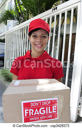 delivery courier delivering package - csp3428373