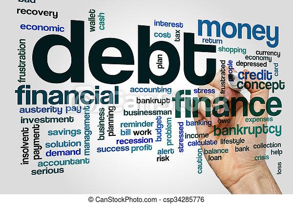 Debt word cloud concept - csp34285776