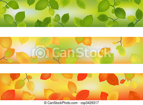 Three Season Banners or Backgrounds - csp3429317