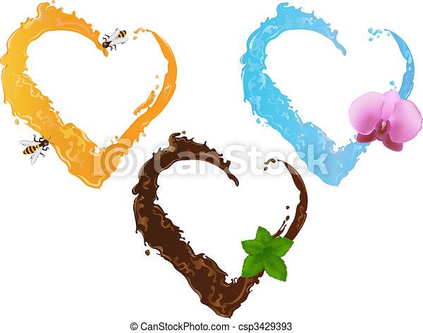 Three liquid hearts - csp3429393