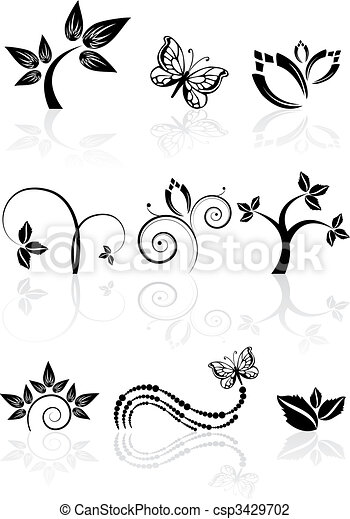 Monochrome nature icons - csp3429702