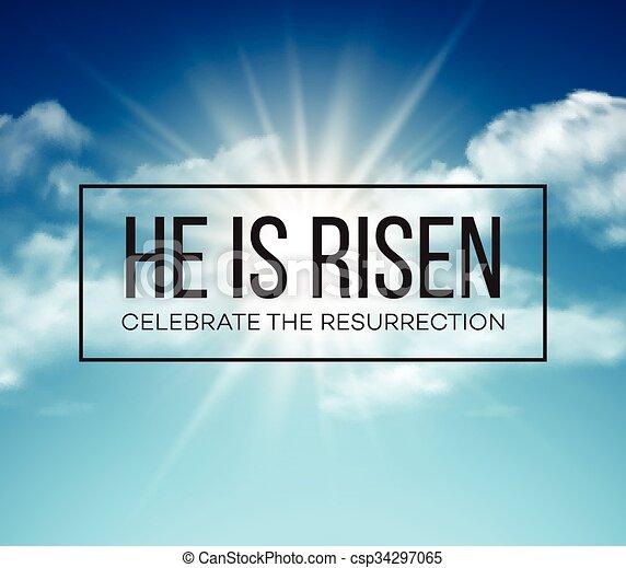 He is risen. Easter background. Vector illustration - csp34297065