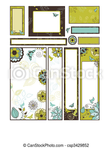 Set of Floral Banners and Adverts in Many Different sizes - csp3429852