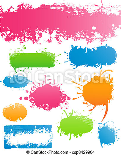 Variety of Modern Colored Grungy and Floral Banners - csp3429904