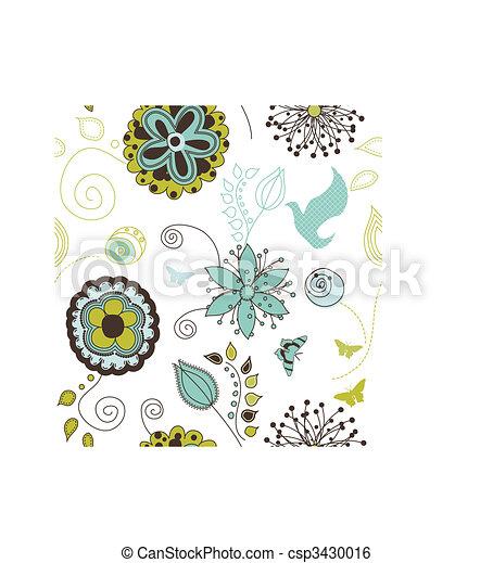 Seamless Retro Style Nature Pattern - csp3430016