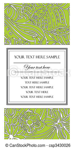 Beautiful Vertical Card with Flower Pattern - csp3430026