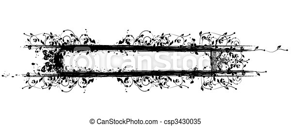 Floral Grungy Frame with Ink Blots - csp3430035