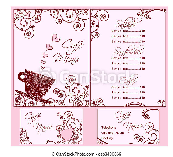 Cute Pink Cafe Menu and Business Card Templates, Both Back and Front. - csp3430069