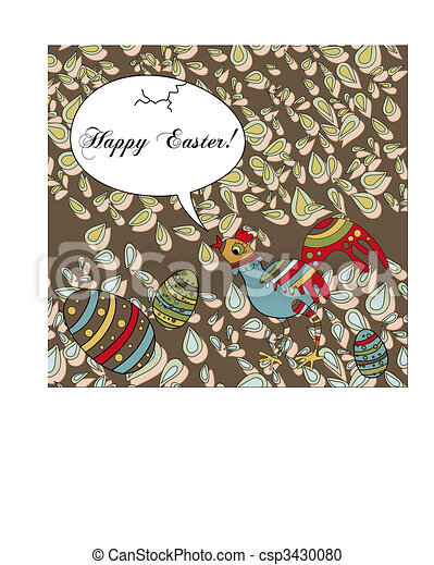 Easter Holiday Greeting With a Silly Chicken - csp3430080
