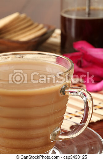 White coffee and french press - csp3430125