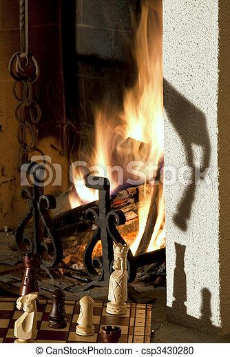 Chess & fireplace