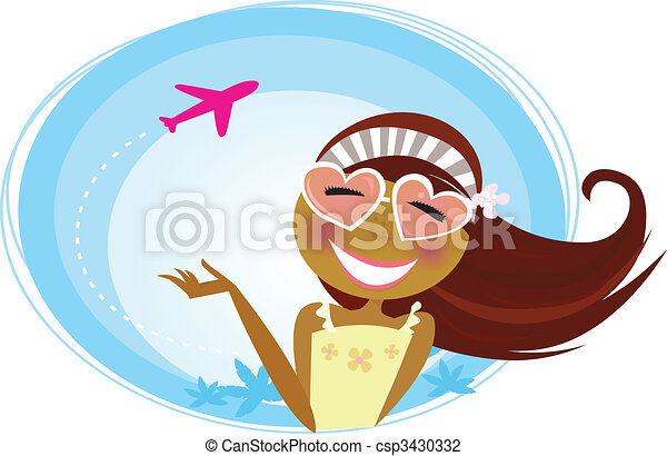 Girl on the airport traveling on vacation - csp3430332