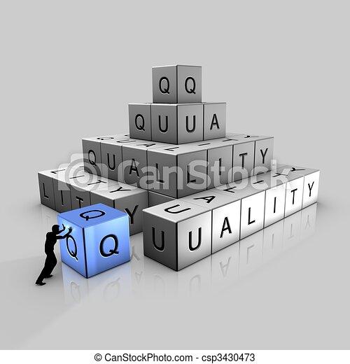 A man puts up bricks of quality - csp3430473