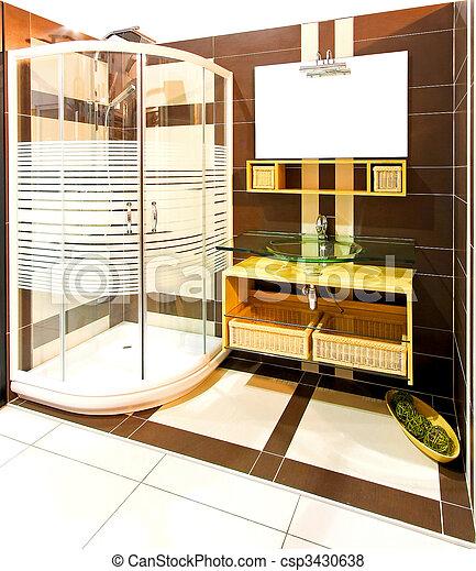 Plaatjes van bruine badkamer interieur met douche cabine gesloten csp3430638 zoek - Bruine en beige badkamer ...