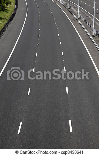 empty motorway lanes - csp3430641