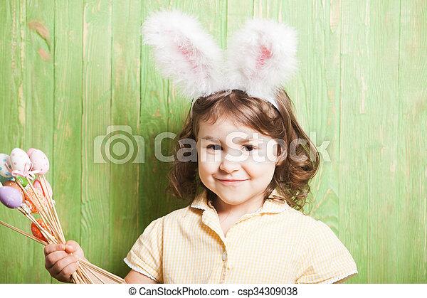 Girl with bunny ears  - csp34309038