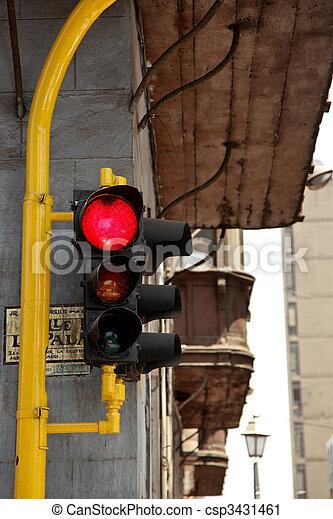 A Traffic Light in  Lima in Peru - csp3431461