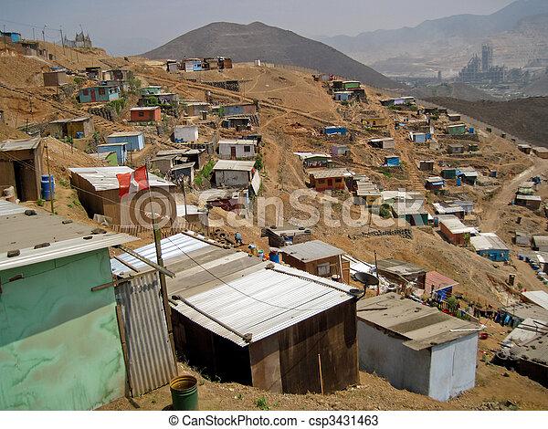 Shanty Town in  Lima, Peru, South America - csp3431463