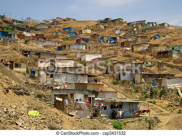 Shanty Town in  Lima, Peru, South America - csp3431532