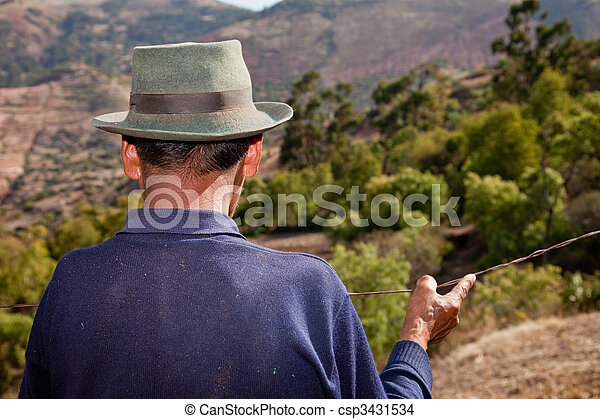 A Farmer in the Andes of South America, Peru - csp3431534