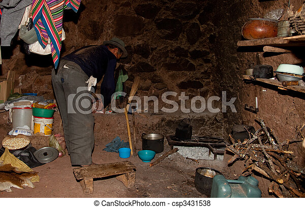 Farmer In A Hut On A Fireplace, Andes in Peru, South America - csp3431538
