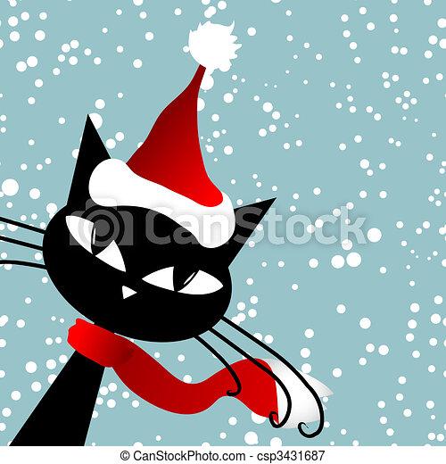 Vector , santa, tarjeta, gato, navidad