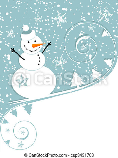 Happy snowman, christmas card - csp3431703