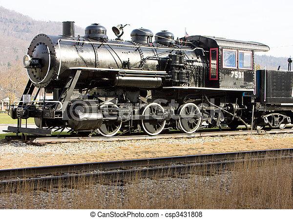 steam locomotive in Railroad Museum, Gorham, New Hampshire, USA - csp3431808