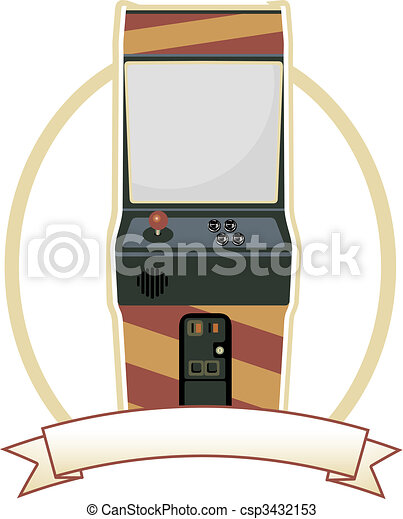 Video Arcade Cabinet Oval Badge - csp3432153