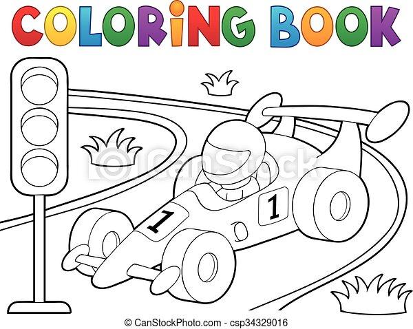 Coloring book racing car theme 1 - csp34329016