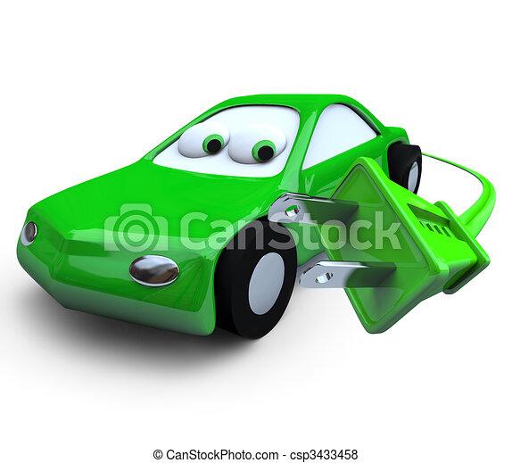 Electric Car and Plug - csp3433458