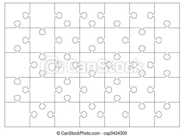 jigsaw outline background - csp3434300