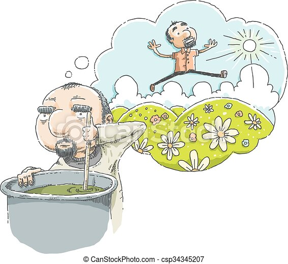 Vector Clipart of Hard Work Daydream - A cartoon man daydreams ...